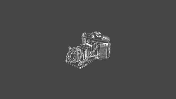 手描きタッチのレトロカメラのイラスト