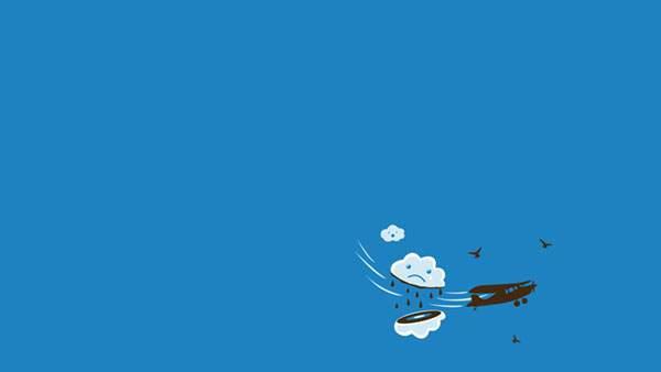 飛行機にまっぷたつにされる雲のキャラクター
