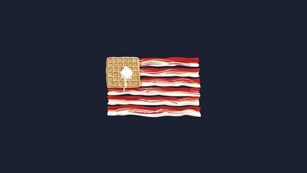 ベーコンとパンケーキで出来たアメリカ国旗