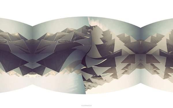 山と空をイメージした幾何学アート