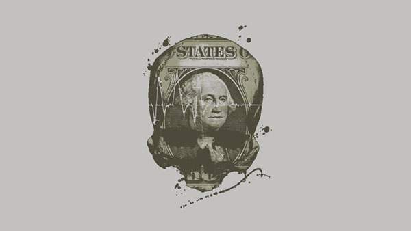 1ドル紙幣とドクロ