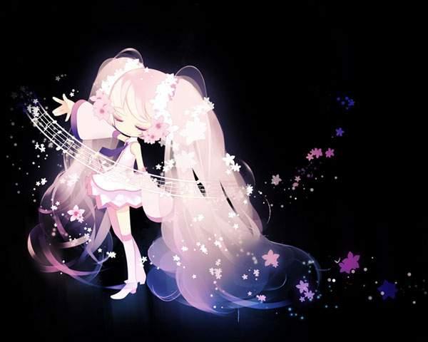 暗闇にぼんやり浮かぶ桜ミク