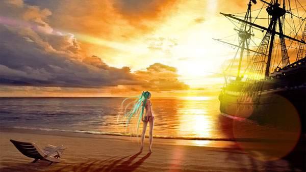 夕日と海賊船と水着のミク