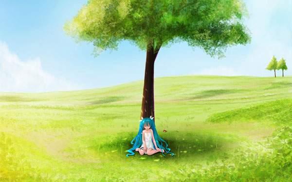 木陰で眠る初音ミクのイラスト