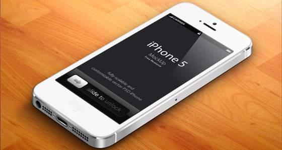 3D iPhone5 モックアップテンプレート(白)