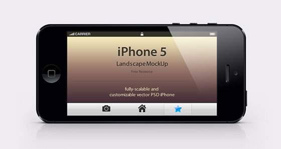 iPhone5 ランドスケープ(横持ち)モックアップ
