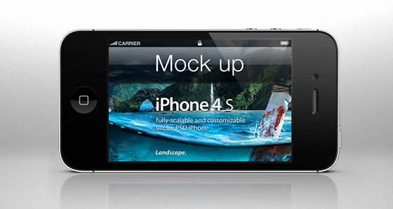 iPhone4S ランドスケープ(横持ち)モックアップ