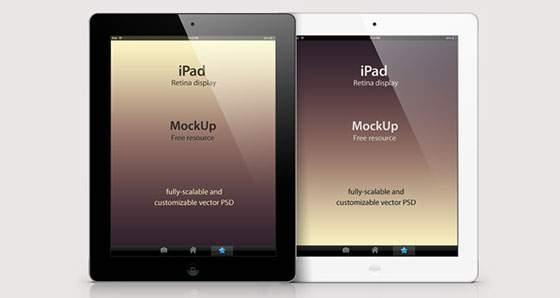 Retina iPad ベクターモックアップPSD