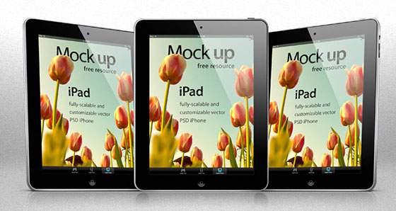 iPad ベクターモックアップテンプレート