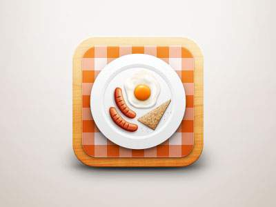 朝食をテーマにしたiPhoneアプリアイコンのデザイン