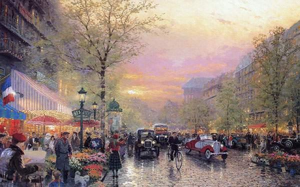パリの町並みを描いたイラスト