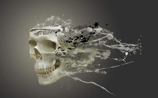 飛び散るインクと骸骨のデザインの壁紙