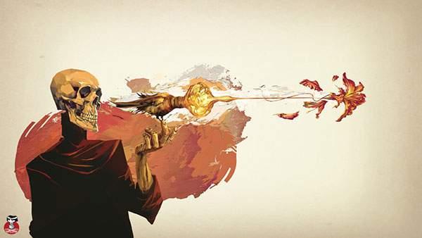 鳥と花と銃と骸骨