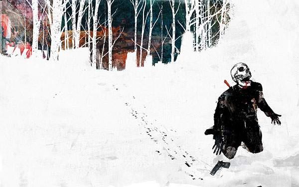 雪道で膝をつく骸骨