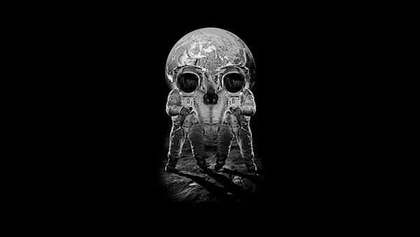 地球と二人の宇宙飛行士(ドクロ)
