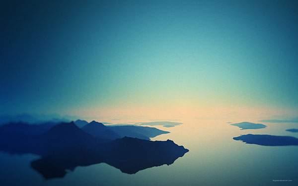 青一色の海と空と島