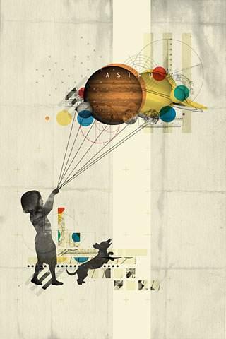 風船を持つ少女と犬のおしゃれでかっこいいスマホ壁紙