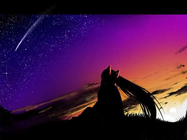 流れ星を見つめる初音ミクのシルエット