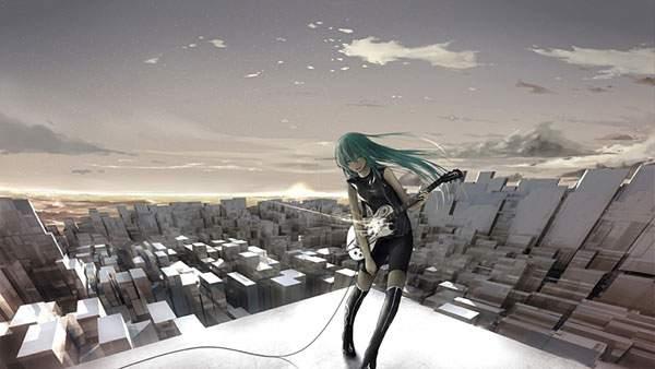 屋上で演奏する髪をおろしたミク