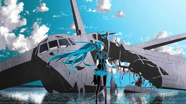 墜落した飛行機と初音ミクのボカロ画像