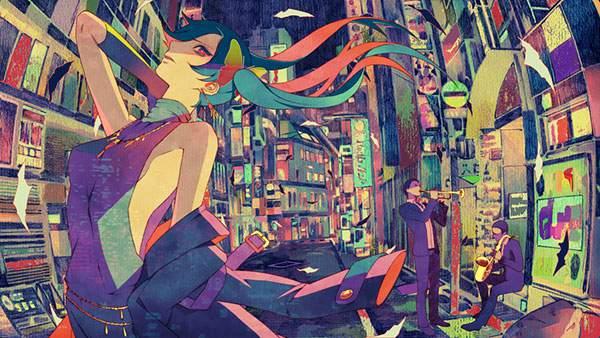 夜の街と初音ミク