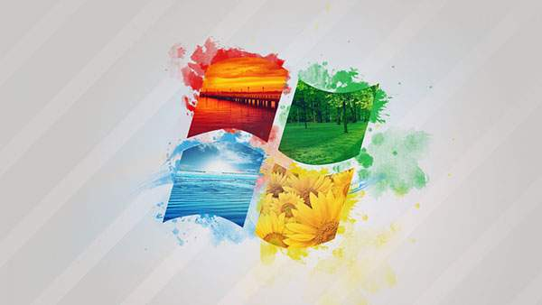 水彩タッチのWindowsロゴ