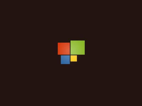 ブラウン系のWindowsロゴの壁紙