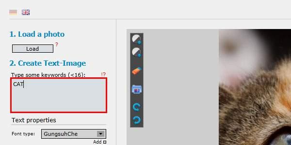 「Create Text-Image」の項目に、使いたい文字を入力