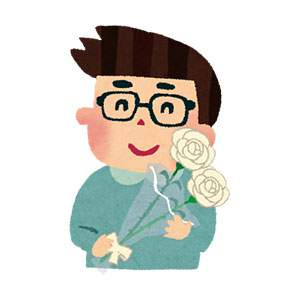 父の日のイラスト「お父さんと白いバラ」