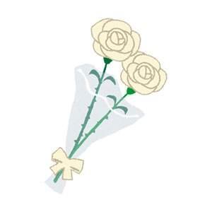 父の日のイラスト「白いバラの花束」