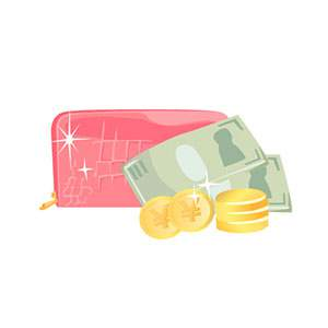財布とお札、お金