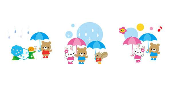 6月 かわいい梅雨のイラスト