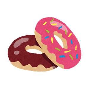 ドーナツのイラスト「チョコ・ピンク」