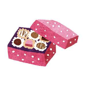 バレンタインのイラスト「箱入りチョコレートセット」