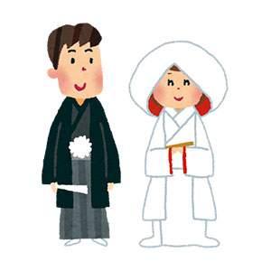結婚式のイラスト「新郎新婦・神前式」