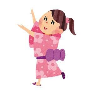 お祭りのイラスト「盆踊りをする女性」