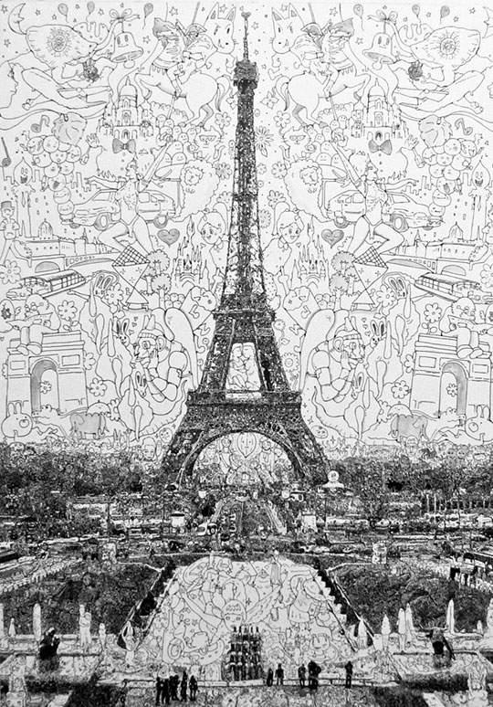 ポップなキャラの集合で描かれたリアルなイラストレーション - 03