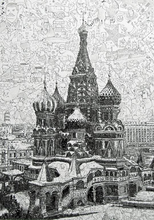 ポップなキャラの集合で描かれたリアルなイラストレーション - 05