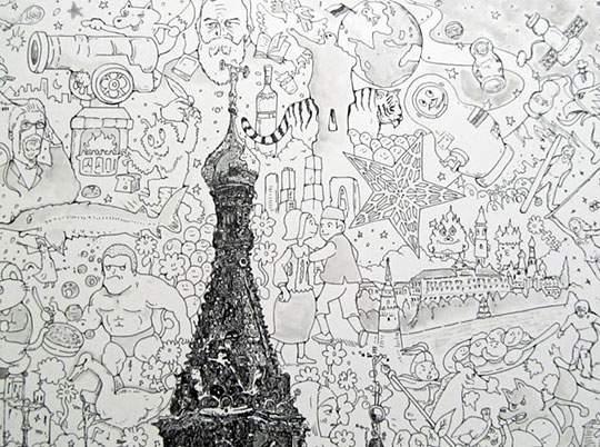 ポップなキャラの集合で描かれたリアルなイラストレーション - 06