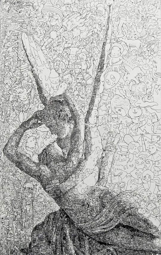 ポップなキャラの集合で描かれたリアルなイラストレーション - 07