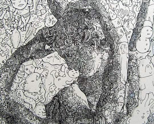 ポップなキャラの集合で描かれたリアルなイラストレーション - 08
