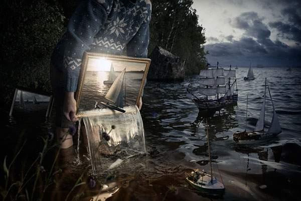 絵の中から溢れて出来た海