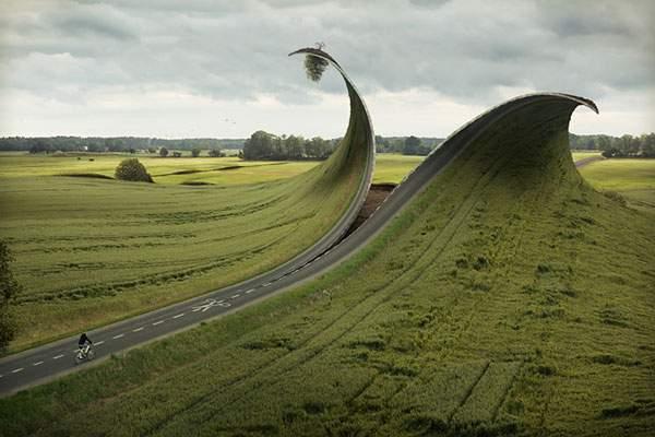 切り取り線に沿って道路を切り開く