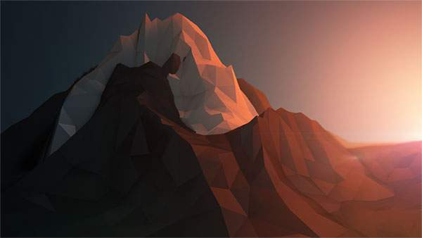 荒いポリゴンの3DCGで作られた山と夕日の風景の壁紙
