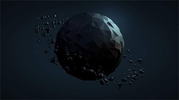 暗い空間に浮かぶ惑星のような3DCGグラフィック