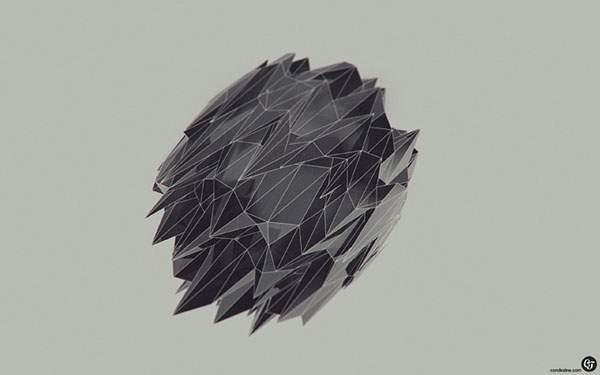 トゲトゲした黒い物体をデザインしたシンプルな壁紙画像
