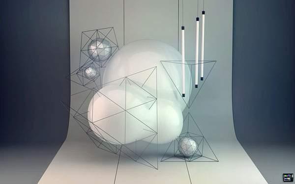 白いシートの前で撮影された蛍光灯と白い球体