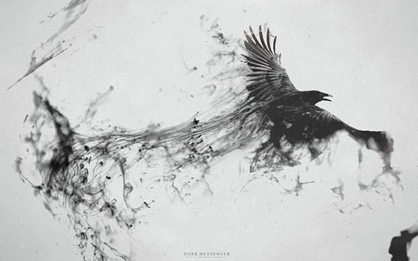 漂う墨汁と鷹のアートワーク
