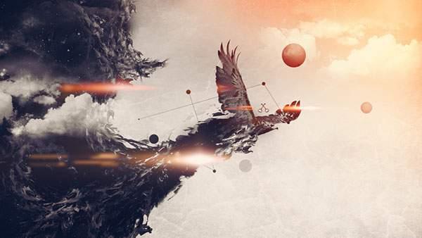 大きな羽を広げて空を飛ぶ鷹のグラフィック壁紙