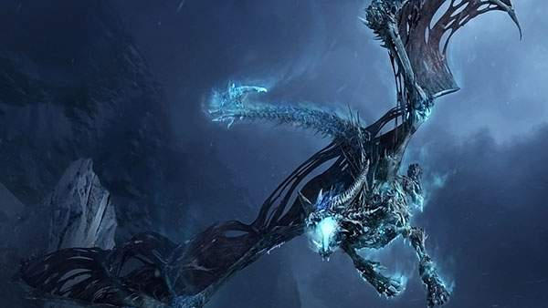 青い光を発するドラゴンのイラスト